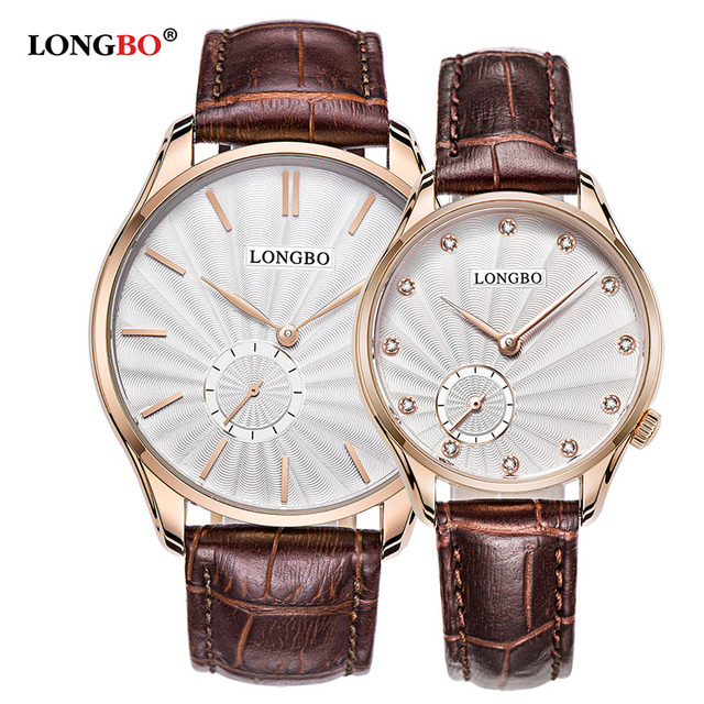 LONGBO Quartz Watch lovers Watches Women Men Couple Dress Watches Leather Wristwatches Fashion Casual Watches Gold 1/pcs 5012