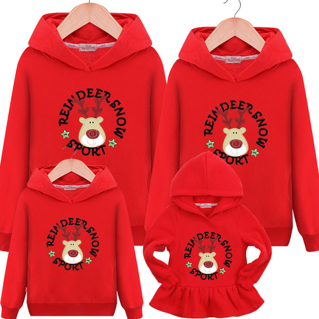 2018 Family matching clothes Christmas coat family matching outfits Family autumn hooded sweater mother daughter dresses kids