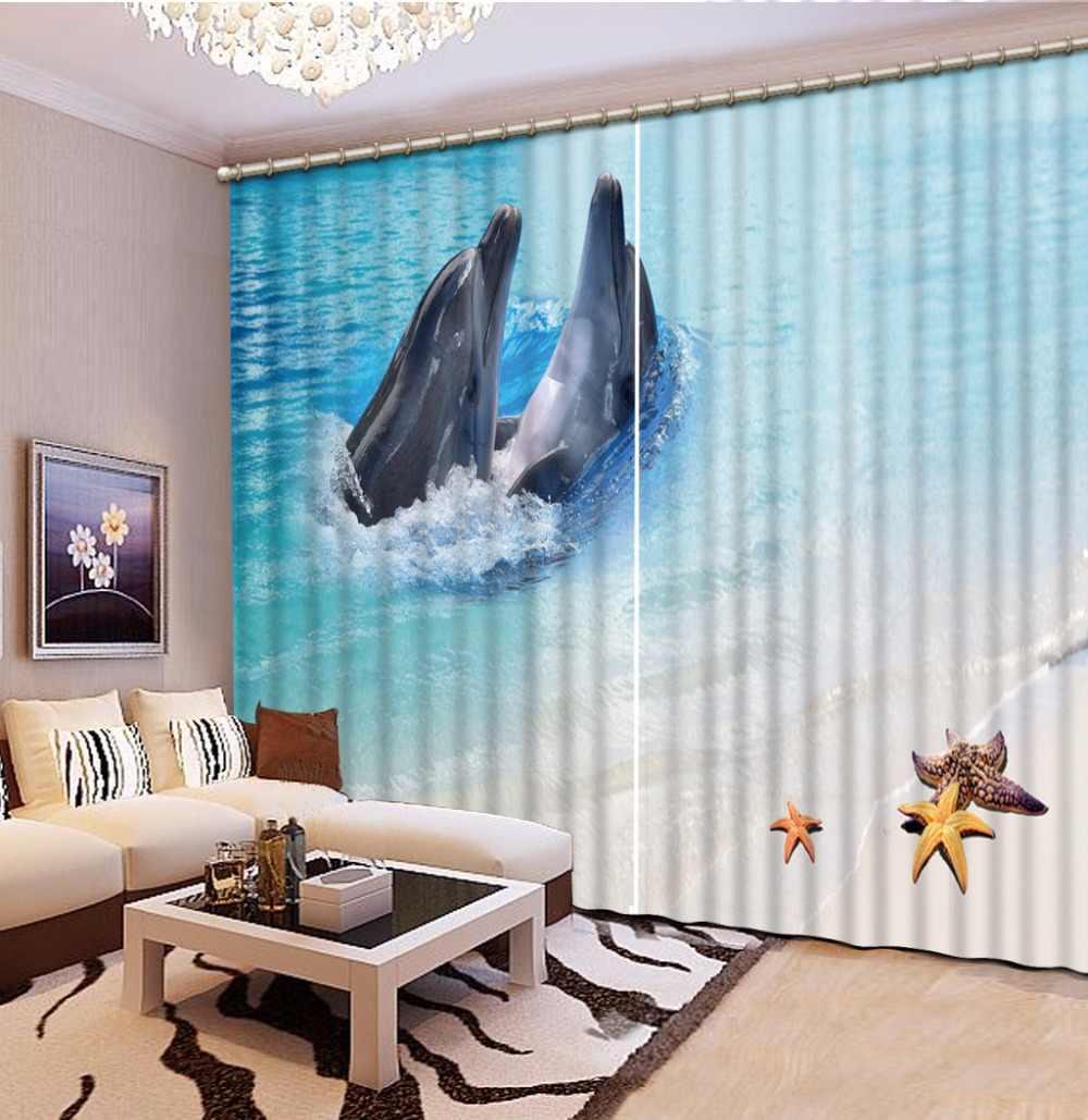 Крутая пляжная оболочка занавеска для гостиной спальни Пара Дельфин 3D шторы для детской крючки 2 шт. шторы