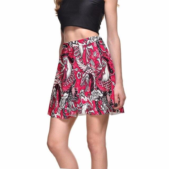 2720e7bde4e4 1273 Summer Women Plus Size Pleated Mini Skater Skirt Sexy Girl Cheerleader  TuTu Skirt arrow turkey phoenix dragon Prints