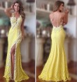Don nupcial sexy frente aberta laço amarelo vestidos backless do baile de finalistas 2016 longo sereia vestidos de festa querida costume dress