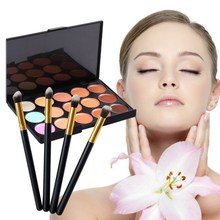 2016 New 15 Color Concealer Palette Makeup Cream With  Eyeshadow Foundation Makeup Brushes #BSEL
