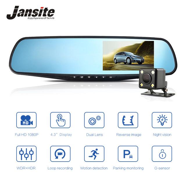 Jansite Car DVR Dual Lens Car Camera Full HD 1080P Video Recorder Rearview Mirror With Rear view DVR Dash cam Auto Registrator