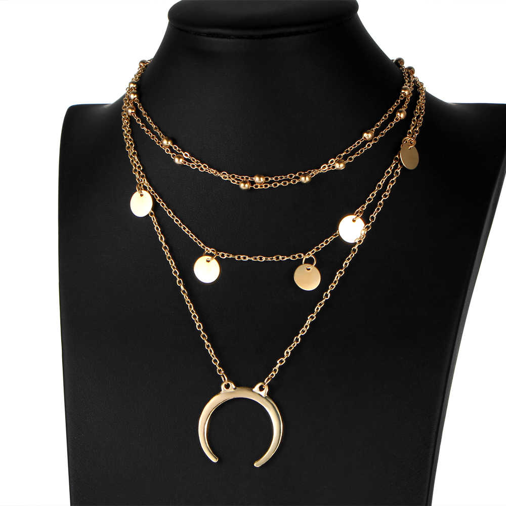 Для женщин Мода Multi-Слои колье Цепочки и ожерелья четыре Сеть себе ювелирные изделия Комбинации Цепочки и ожерелья леди вафли Луна подвеска Цепочки и ожерелья