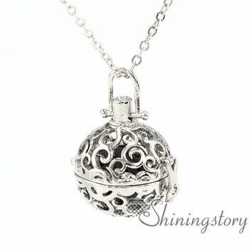 Ball openwork aromatherapy necklace diffuser necklaces wholesale diffuser necklaces diffuser pendant necklaces metal volcanic s фото