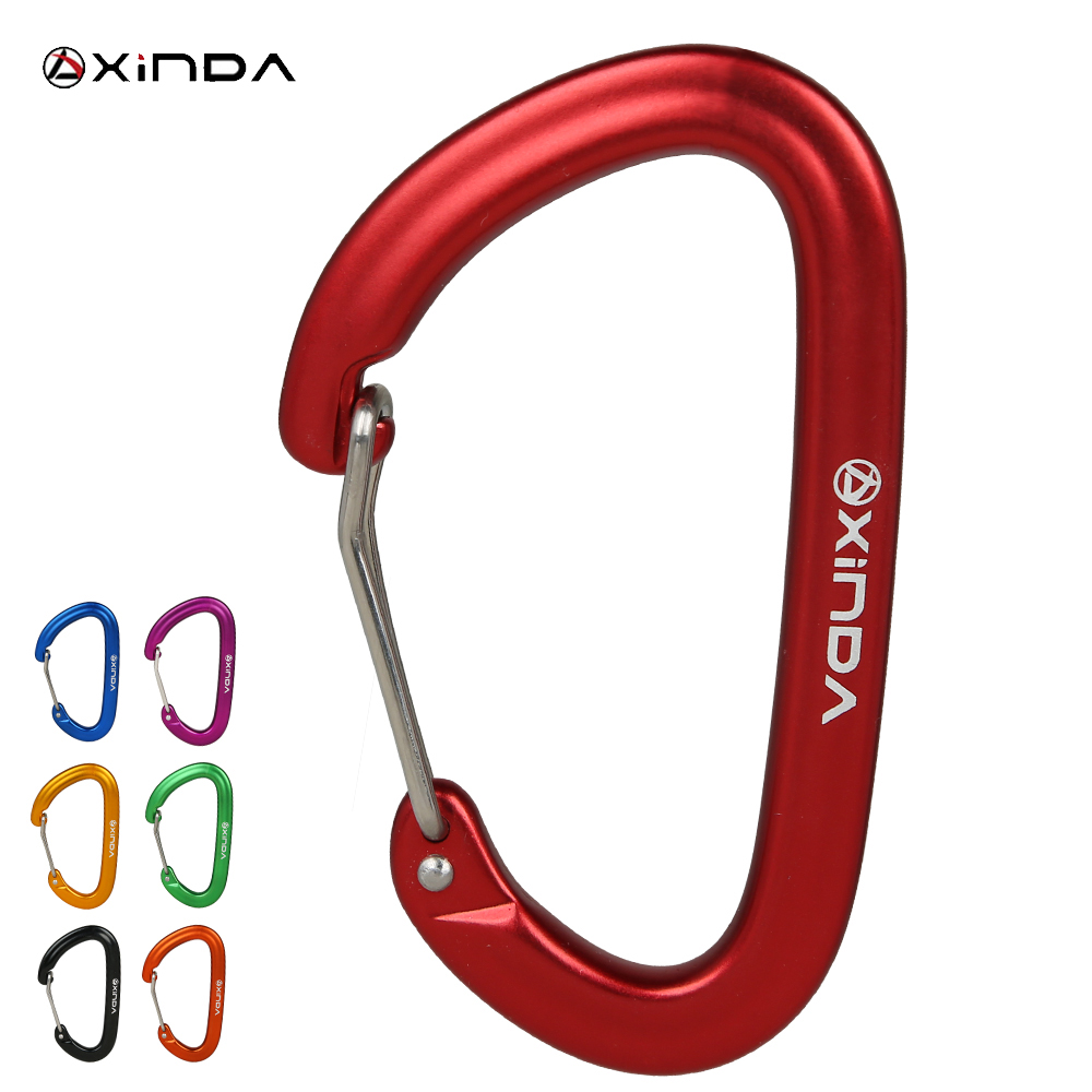 XINDA Professional 16KN Rock Climbing Carabiner Clip D-Shape Screw Gate Lock  Aluminum Alloy Keychain  Outdoor Equipment