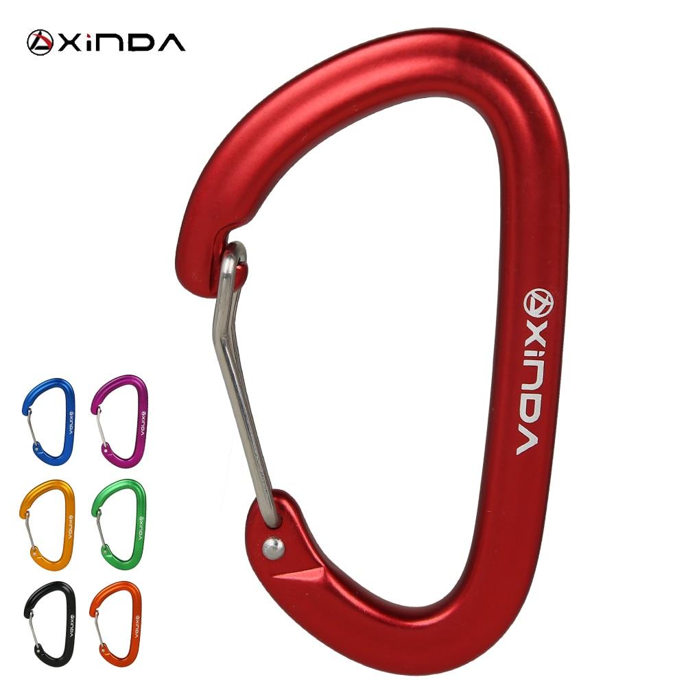 XINDA Professional 16KN Rock Climbing Carabiner Clip D-Shape Screw Gate Lock  Aluminum Alloy Keychain  Outdoor Equipment