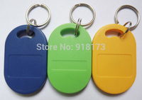 100 pces rfid chave fobs 13.56mhz proximidade abs chave ic tags token anel nfc 1k china fudan s50 1k chip azul amarelo verde