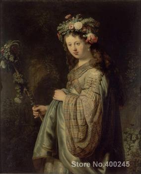 Modern Portrait photo to canvas Flora by Rembrandt van Rijn High quality Handmade