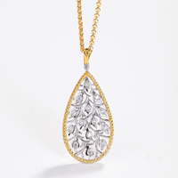Solid Silver Handmade Hollow Branch Leaves Vintage Palace Pendant Necklaces For Women