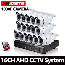 HKIXDISTE 16CH 1080 P AHD DVR Kit de Sistema de CCTV 16CH DVR AHD grabador + IR 40 M Al Aire Libre de la Bala de Seguridad de 2MP Cámara AHD Sistema Kit