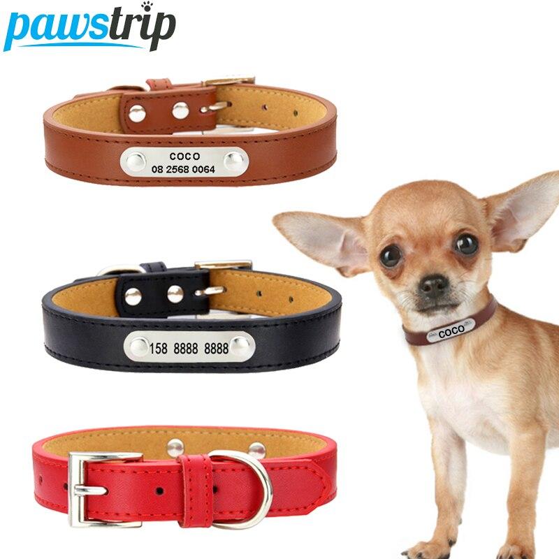 pawstrip S 2XL Leather Dog Collar Personalized font b Pet b font ID Collars Customized Dog