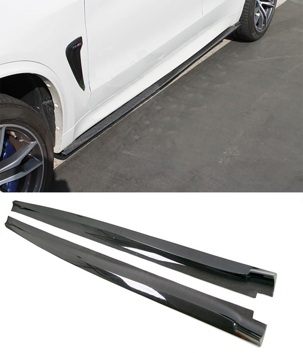 Carbon fiber Side skirts 2Pcs Fit For BMW F15 X5 M-Sport F85 X5M накладки на пороги bmw x5 iii f15 2013 carbon
