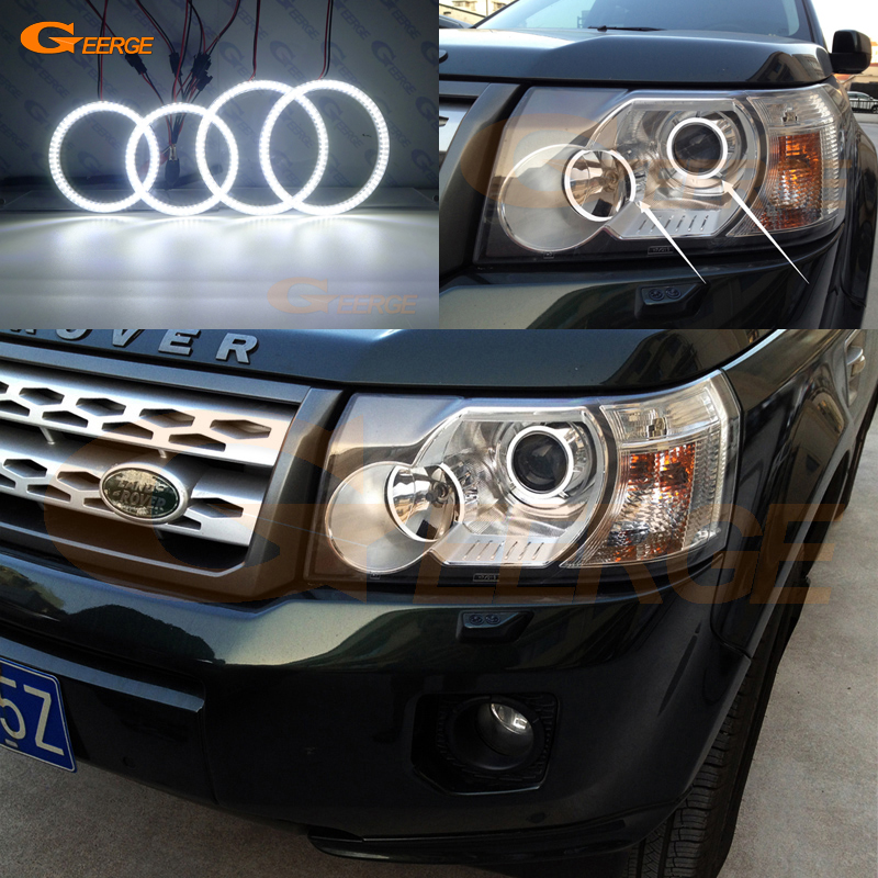 For Land Rover Freelander 2 2007 2008 2009 2010 2011 2012 Xenon Headlight Ultra bright illumination smd led Angel Eyes kit DRL 2x no errors xenon white 50w p13w c ree led bulbs drl for 2008 12 audi b8 model a4 or s4 with halogen headlight trims