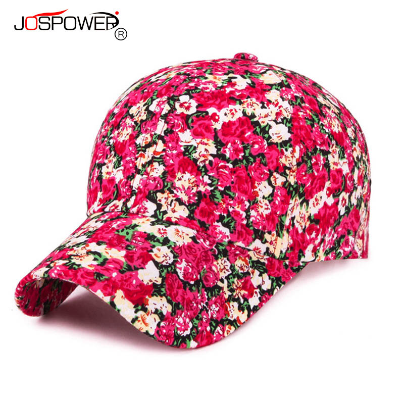 JOSPOWER New Summer Women Floral Caps Fashion Baseball Cap Rose Printing Hats Casquette Hip Hop Hat Casual Female Sun Hat 2016 feammal new rose floral embroidered casquette polos baseball caps cotton strapback black pink rose for women sport cap