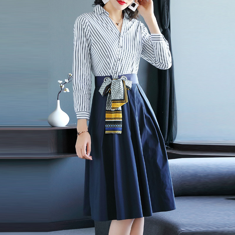 Spring New 2019 Women Fashion V-Neck Shirt Dress Women Casual Stripe Patchwork A-line Bandage Tunic Dresses With Sashes Vestidos