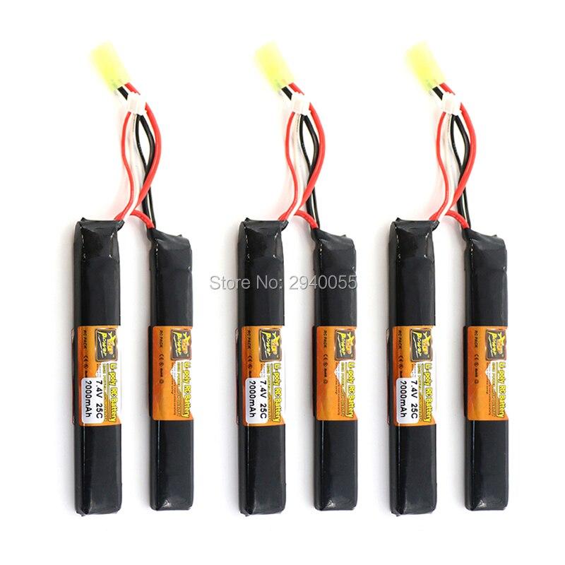 3PCS ZOP Lipo Battery 2S 7.4V 2000mah 25C AKKU Mini Airsoft Gun Battery RC model Tamiya connector шарики для пейнтбола goldenball 0 25 airsoft bbs 3000rounds gb3025w 237