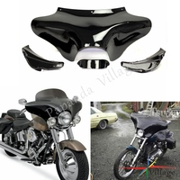 Papanda Black Front Outer Batwing Upper Fairing For Harley Electra Street Glide Road King Dyna Fat Bob FXDF FLHR