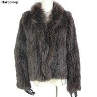 Harppihop rabbit fur Genuine Knitted coat for Women Raccoon Fur collar Jacket Trench Outwear fashion street party jacketC918