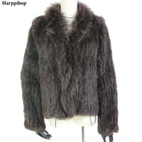 Harppihop rabbit fur Genuine Knitted coat for Women Raccoon Fur collar Jacket Trench Outwear fashion street party jacketC918