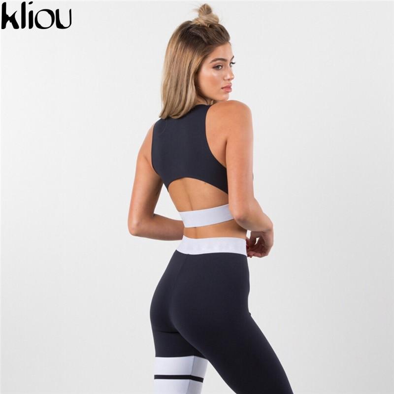 Kliou 2 Pieces suit crop tank striped leggings set 4