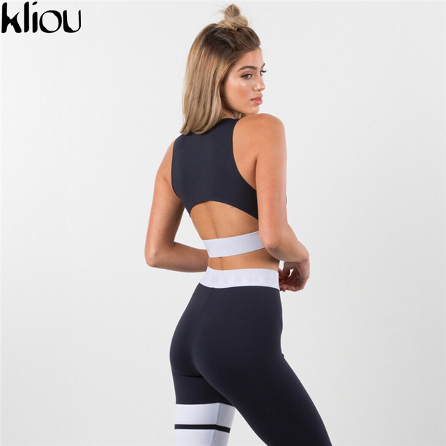 Kliou 2017 Women 2 Pieces suit crop tank striped leggings set Polyester Female Casual Bodysuit Club outfit sporting Tracksuits 5