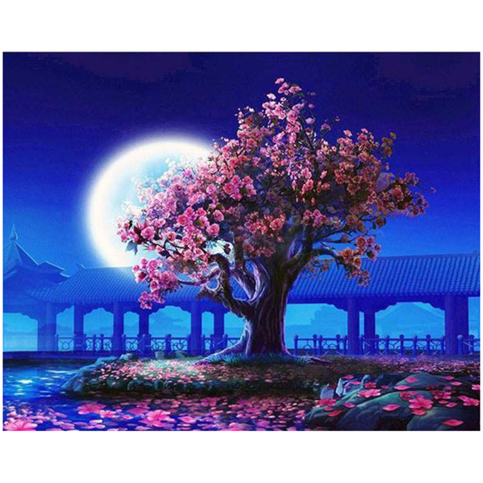 WONZOM Moon Cherry Tree DIY Painting By Numbers Kit For Kids Wall Art Picture Acrylic Paint Canvas Painting 40x50CM in Painting Calligraphy from Home Garden