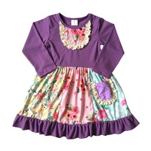 2018  hot sale discount cotton girl boutique clothing and fall winter flower children dress