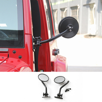 Car Exterior Side Door Rearview Mirror Adjustable Shape Angle Lens Blind Spot Screw Hood For Jeep