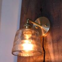 Arm Leuchte LED Wand Leuchten Schlafzimmer Lampe Bad Spiegel Lichter Retro Kupfer Aplique De Pared Glas Hause Beleuchtung