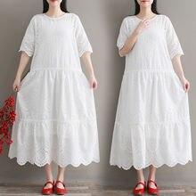 Бесплатная доставка женские хлопковые белые платья до середины