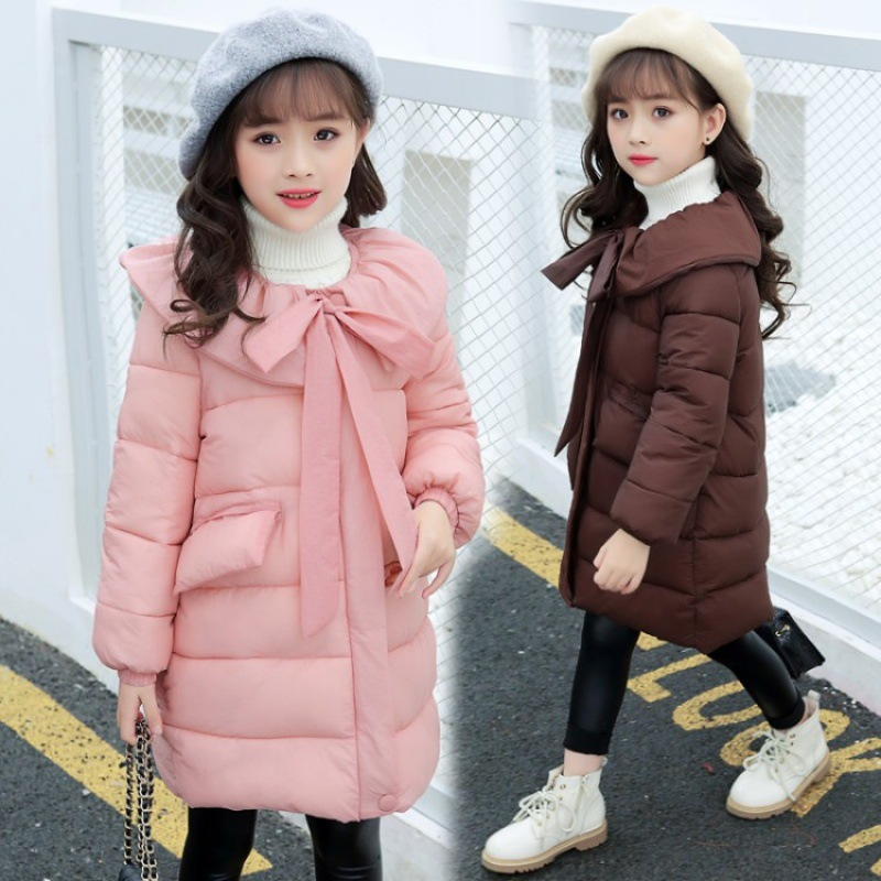Pink Down cotton Jacket For Girls Winter Princess Kids Clothes Bow Girls Park Elegant Kids Outerwear Autumn Girl Clothing 4-14Y girls winter dresses elegant thicken kids dresses for girls warm cotton children clothes clothing autumn winter 7 16y pink blue
