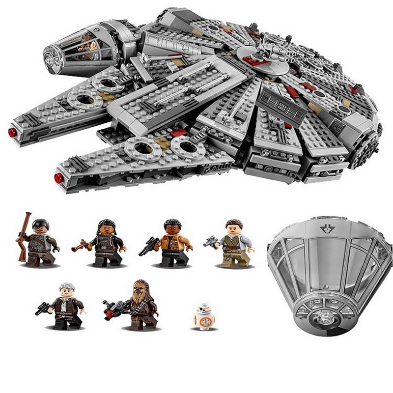 05007 LEPIN 1381Pcs Star Wars 7 Millennium Falcon Model Building Blocks Enlighten DIY Figure Toys For Children Compatible Legoe [yamala] star wars 7 1381pcs millennium falcon force awakening building blocks toys for children toys compatible with lepin