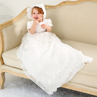 2019 Summer Vintage Toddler Girl Christening Gown 1st Birthday Party Dress White Extra Long Baptism Newborn Wedding Lace Dress