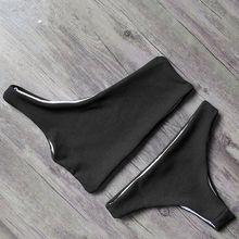2019 Solid Bikini Brazillian Swimsuit Women Bikini Set Sexy One Shoulder Bandage Swimwear Female Thong Swimming Suit Biquini