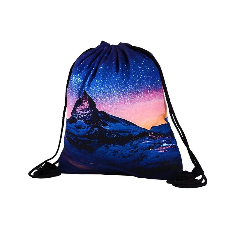 Girls backpack schoolbag birthday gift mochila drawstring bag for kids childs 3D Starry Polyester Boys backpack Beach bag