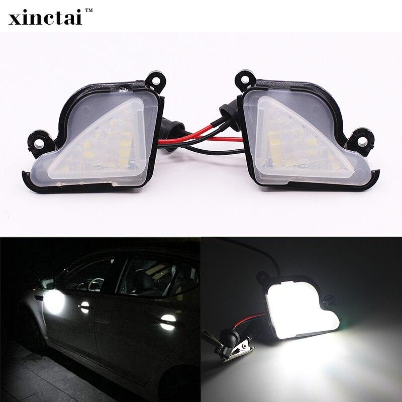 2 stücke Canbus LED Pfütze Spiegel Licht Unter Seite Spiegel Lampe für Skoda Octavia Mk3 Zubehör T10 LED Auto LED