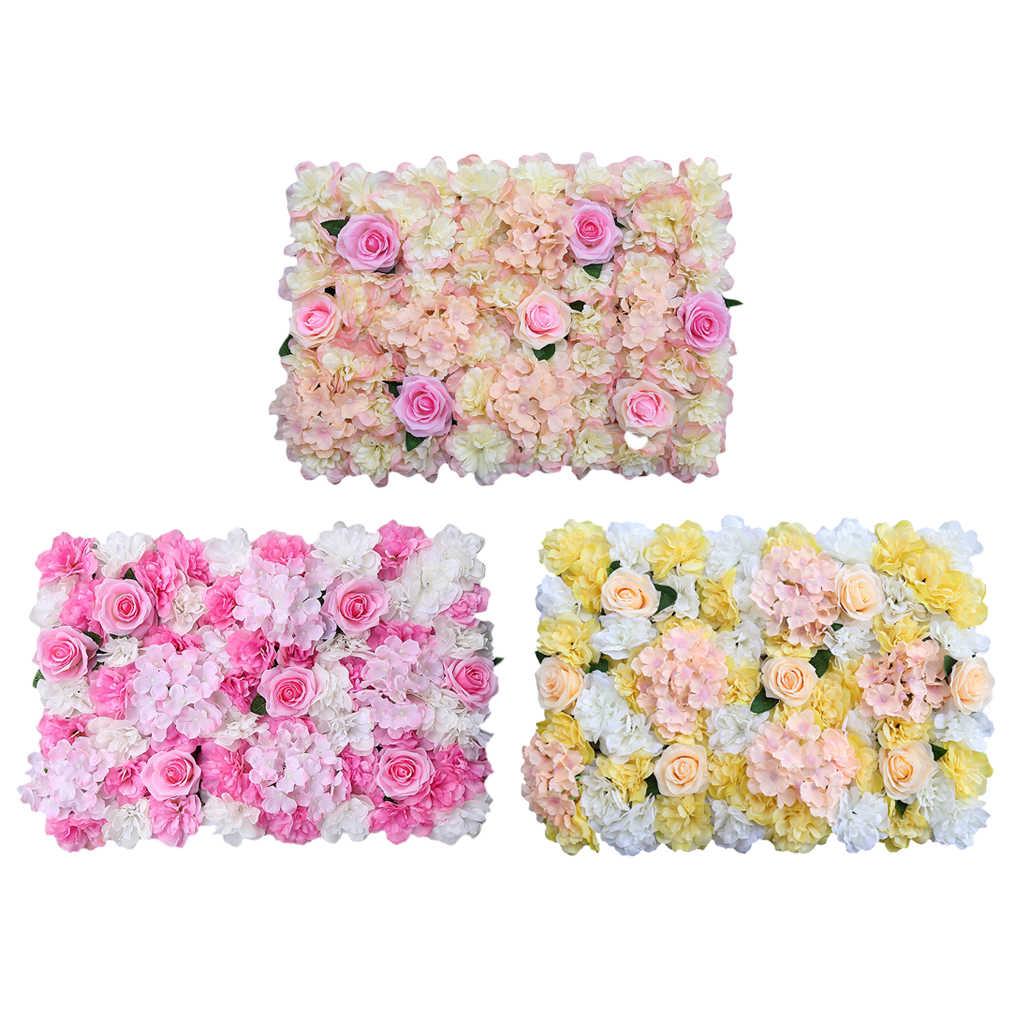Bunga Artificial Dinding Panel Palsu Sutra Rose Bunga Hydrangea Bunga Dinding DIY Latar Belakang Dekorasi untuk Pernikahan Ulang Tahun Party60x40cm
