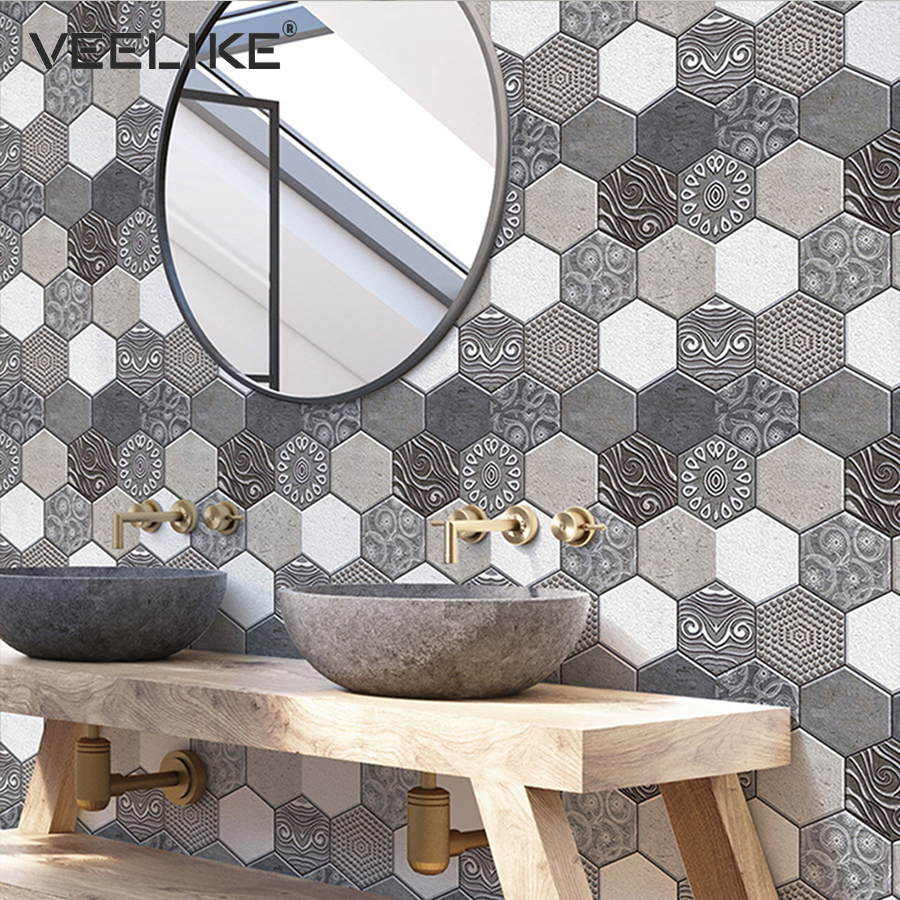 Self Adhesive Waterproof 3D PVC Wall Panels For Kitchen Backsplash Tiles Brick Wallpaper For Bedroom Bathroom Walls Home Decor