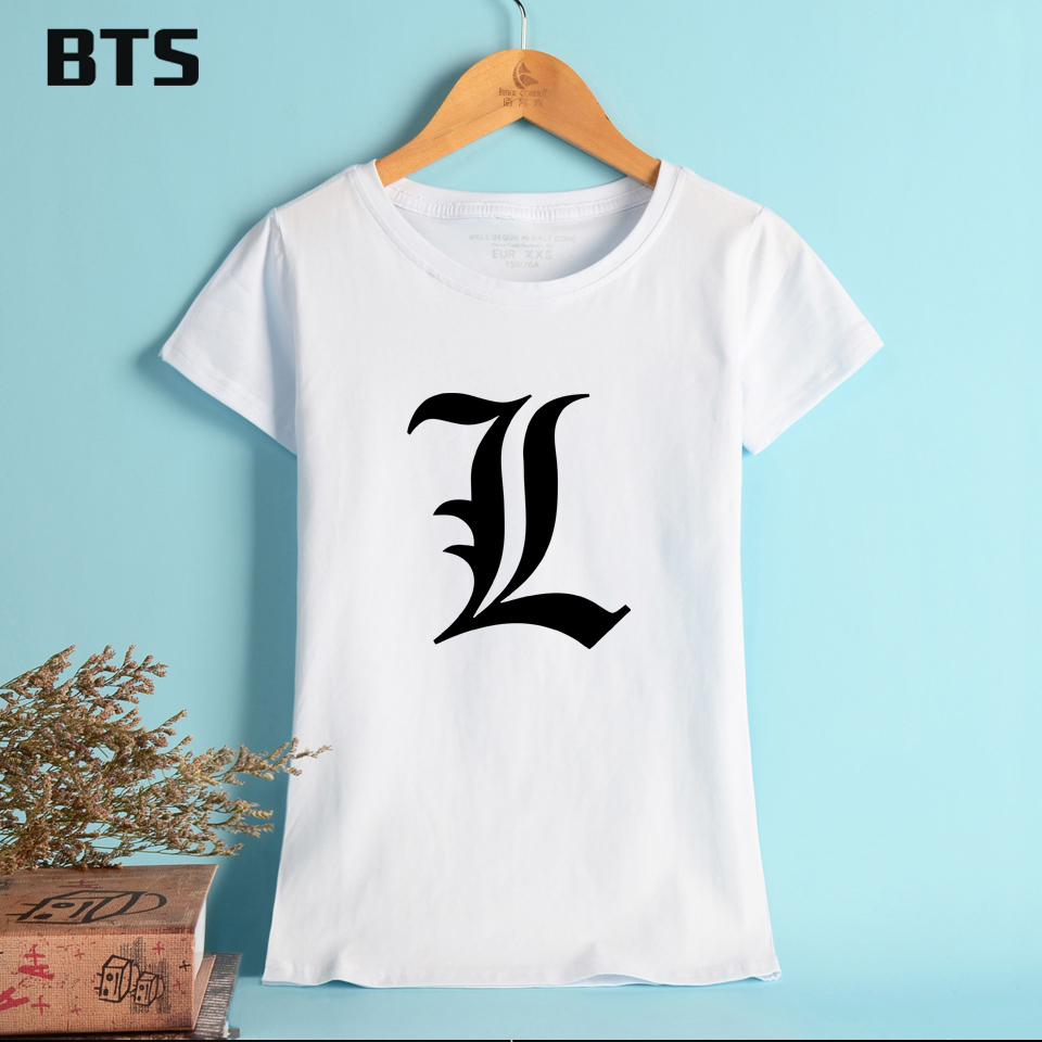 BTS Death Note T-shirt Women Basic T Shirt Women Summer Short Sleeve Simple Style Casual Tops Pure Cotton Tees Shirt For Female