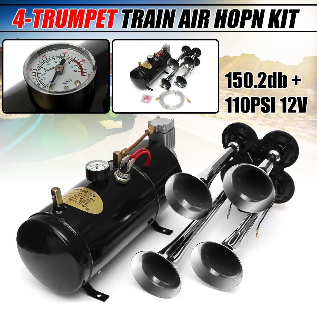 Universel 12 V 150.2 db moto voiture camions bateaux 4 trompette Air klaxon compresseur tubes
