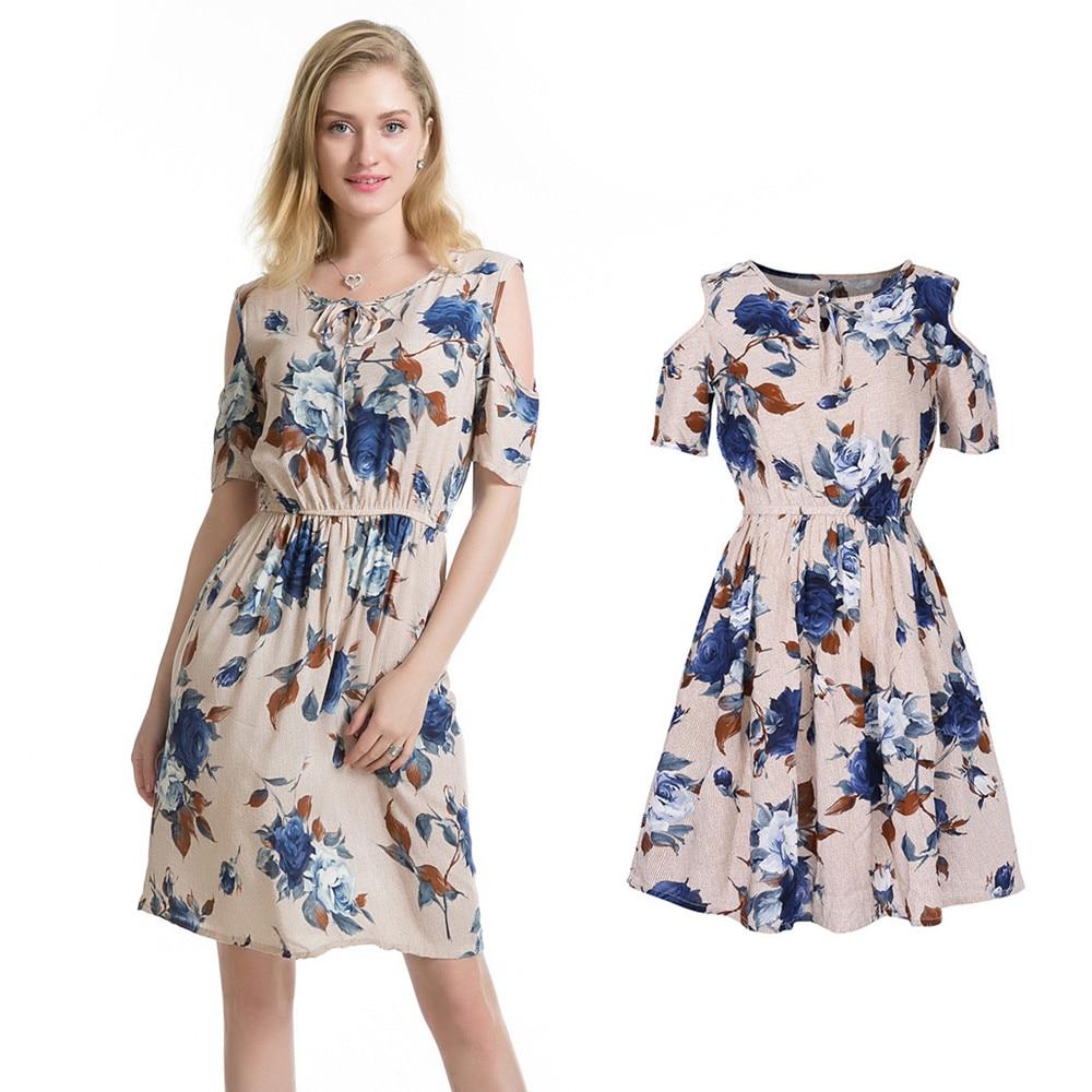 Cotton Loose Women Vintage Summer Dress Top Cold Shoulder