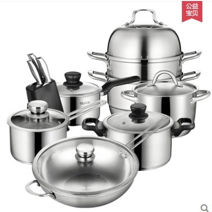 Cookware set nonstick pan stainless steel home frying soup pot set stovetop kithcen tools steamer frypan glass lid kitchenware