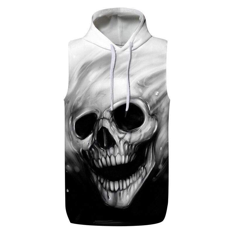 3D Skull Hoodie Tank Top Summer Hoodies Vest Tops Loose Sweatshirts Couple Pullover Tracksuit
