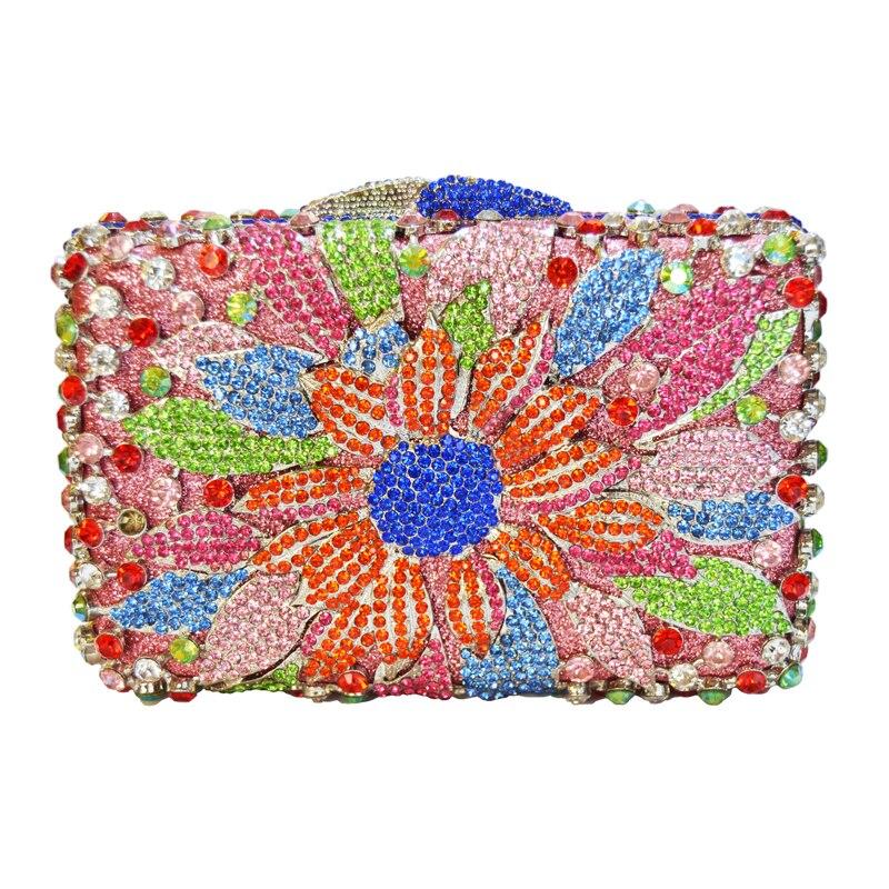 ФОТО LaiSC Flower Bag Women Luxury Diamond Evening Bag Ladies Purse Pochette Crystal Day Clutches Bling Party Bag Chain HandBag SC264