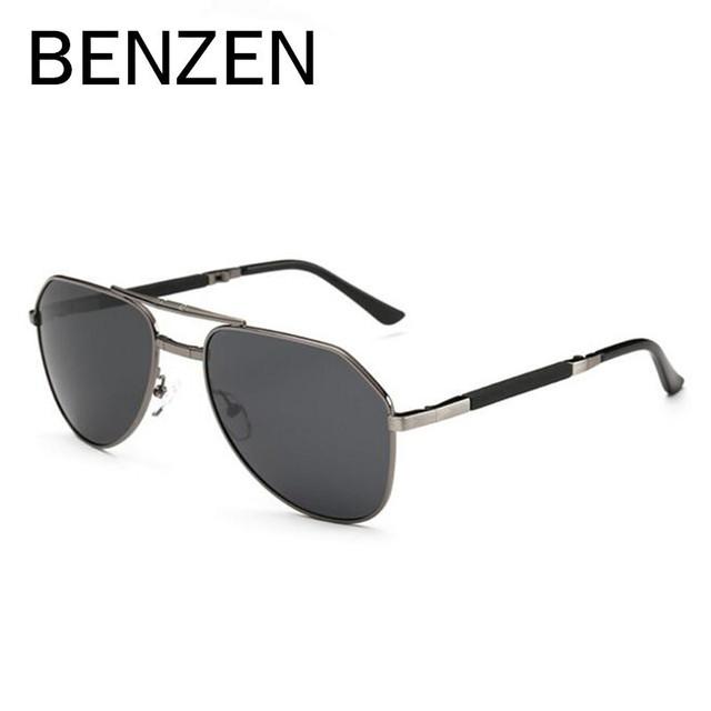 Óculos de sol dos homens polarizados óculos de sol de dobramento masculino dobrado benzen designer driving óculos oculos tons sunglases com caso 9110