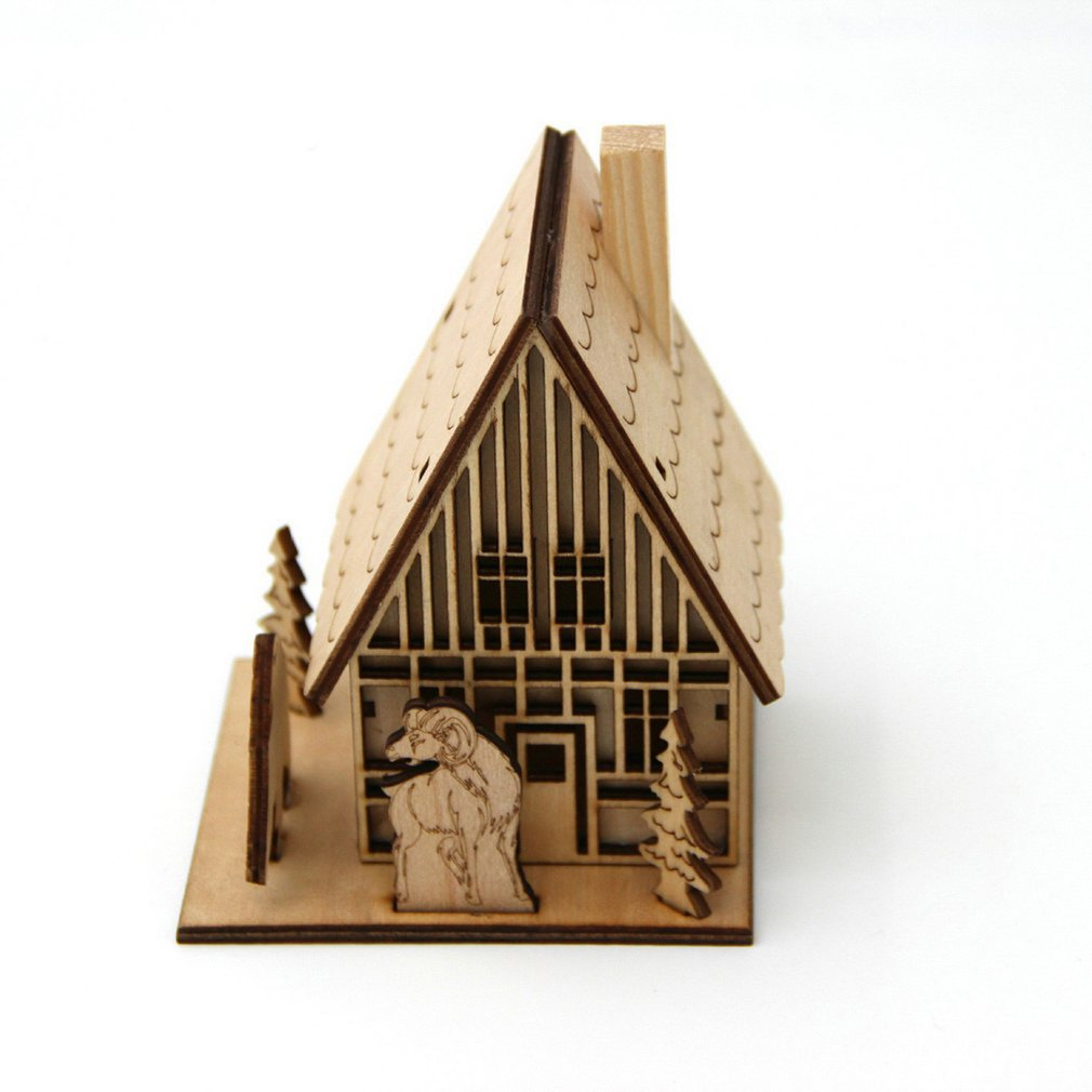3D Wooden Puzzle Jigsaw Puzzle Assembly Model House Steeple/Chimney/Wall Clock Small House Architectural Model Kid DIY Xmas Toy image