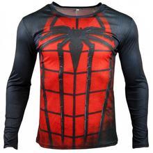 Skinny T Shirt Men Spider 3d Digital Printed T Shirt Men Superman Hero Elastic Long Sleeve Biker Jerseys Compression Shirt Z10