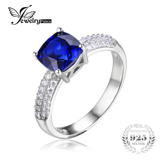 Jewelrypalace cojín 2.6ct creado azul zafiro anillo de compromiso solitario 925 joyería de plata esterlina 2016 nuevo anillo de las mujeres