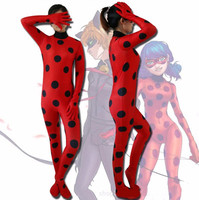 NEW Kids Adult The Miraculous Ladybug Cosplay Costume Halloween Girls Ladybug Marinette Child Lady Bug Lycra
